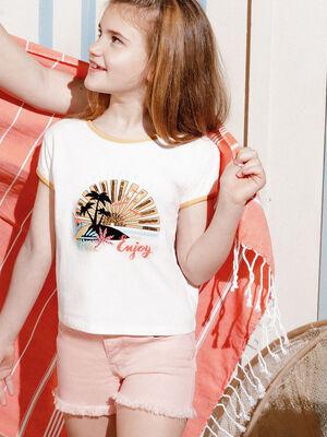 T shirt manches courtes Creeks ecru fille