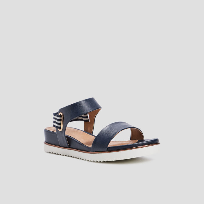 Sandales à talons compensés femme bleu