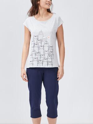 Ensemble pyjama 2 pieces gris clair femme