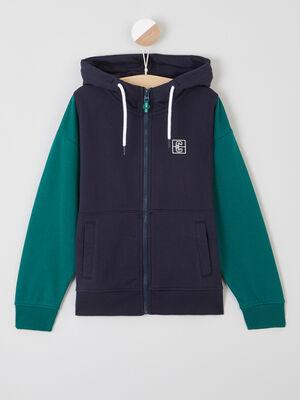 Sweatshirt zippe a capuche bleu marine garcon