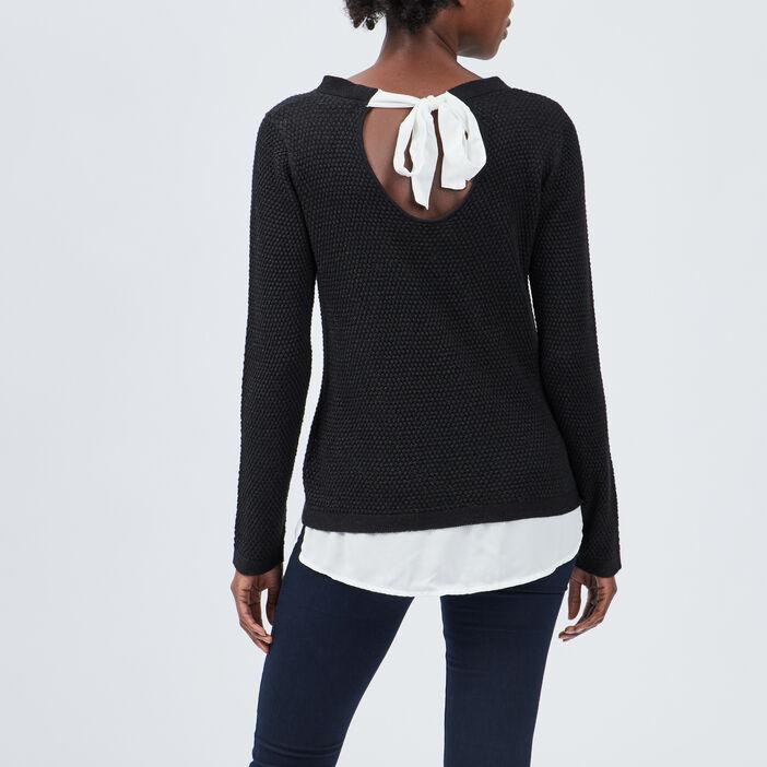 Pull détail noeud au dos femme noir