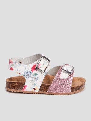 Sandales en cuir rose mixte