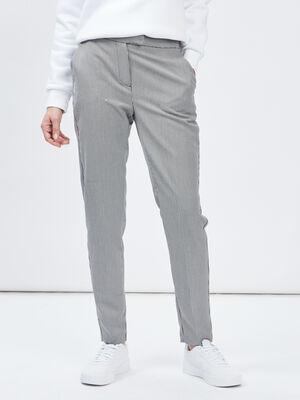 Pantalon cigarette pied de poule ecru femme
