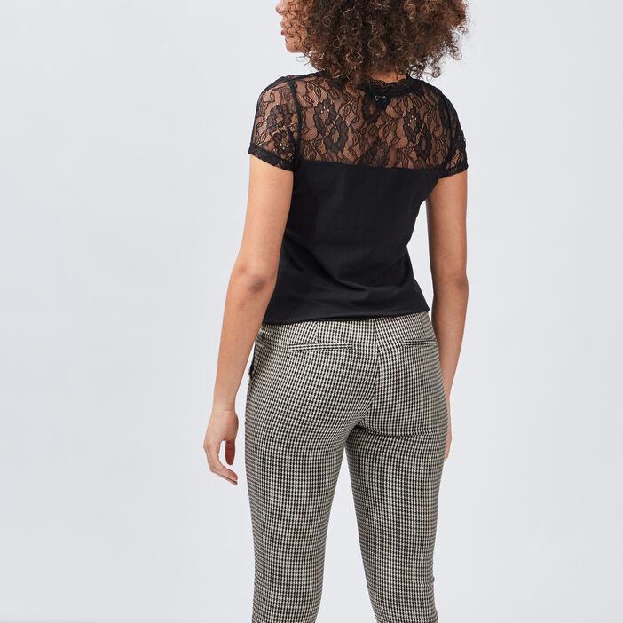 T-shirt à dentelle Mosquitos femme noir