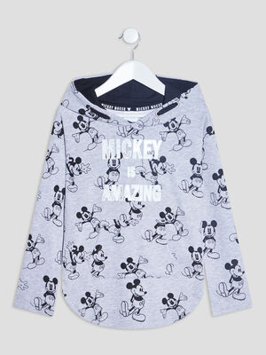 Sweat a capuche Mickey gris fille