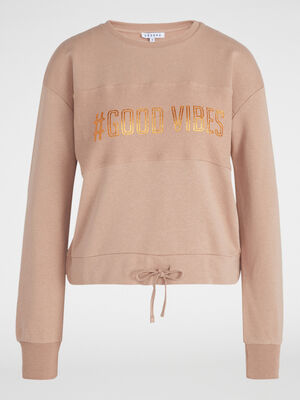 Sweat a message en coton rose femme