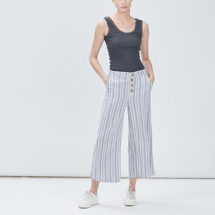 Pantalon droit large femme ecru