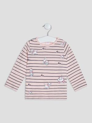 T shirt Les Aristochats rose clair bebef