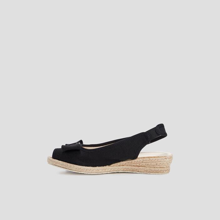 Sandales compensées à noeuds femme noir