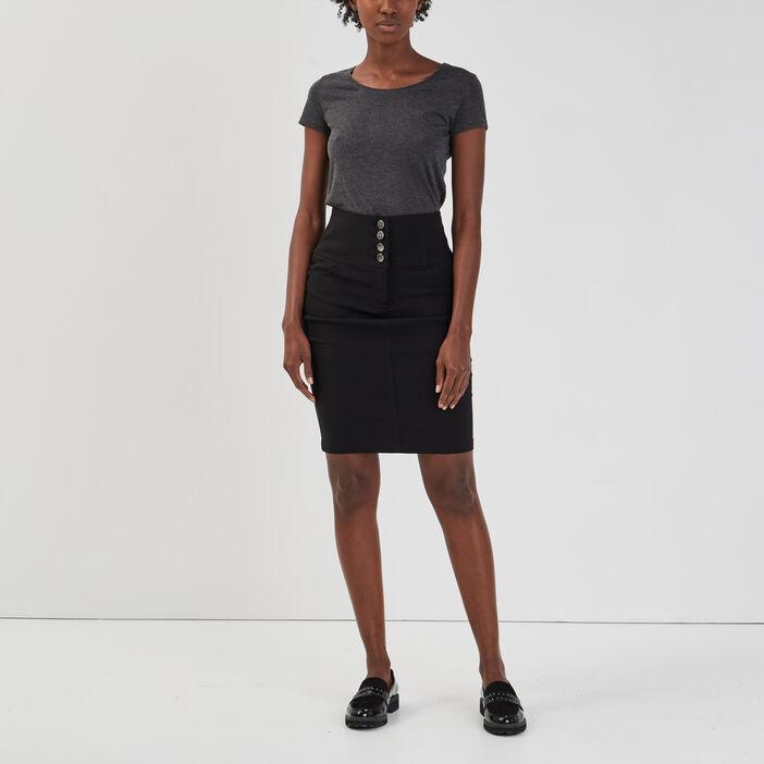 Jupe crayon ajustée à boutons femme noir