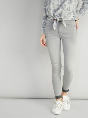 Jean skinny taille basse gris femme