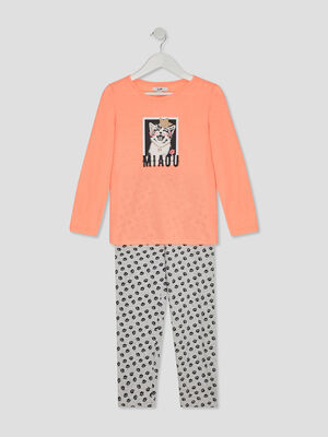 Ensemble pyjama orange corail fille