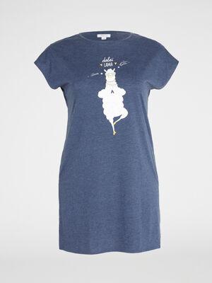 Chemise de nuit en coton bleu femme