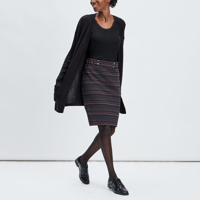 Jupe droite taille haute femme multicolore