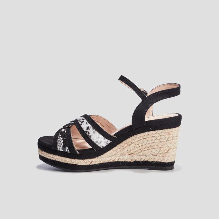 Sandales compensées Mosquitos femme noir