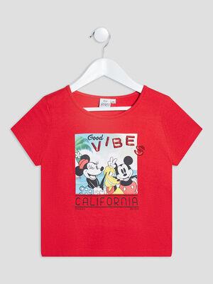 T shirt manches courtes Minnie rouge fille