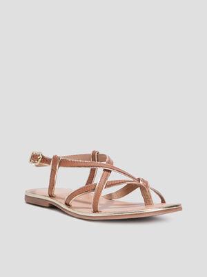 Sandales en cuir avec entre doigt marron femme