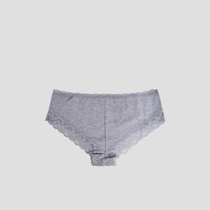 Lot 3 culottes boxers avec dentelle femme gris