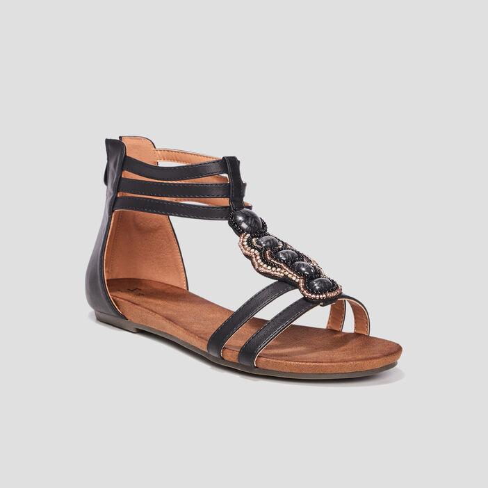 Sandales montantes femme noir
