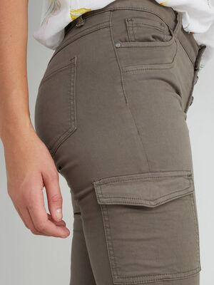 Pantalon slim battle boutonne vert kaki femme