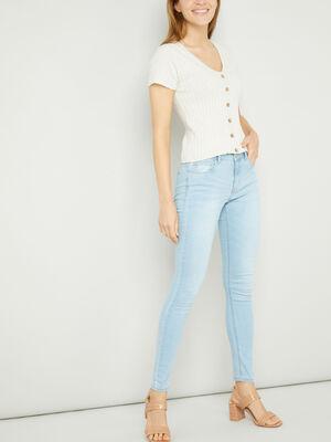 Jeans skinny taille basse denim bleach femme