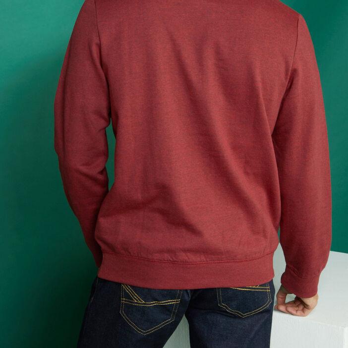 Sweatshirt col rond avec imprimé homme bordeaux