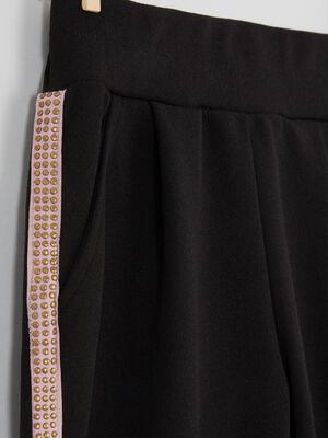 Pantalon cigarette bandes laterales noir fille
