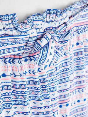 Short taille elastiquee a motifs bleu fille