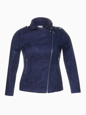 Veste stretch esprit motard bleu marine femme