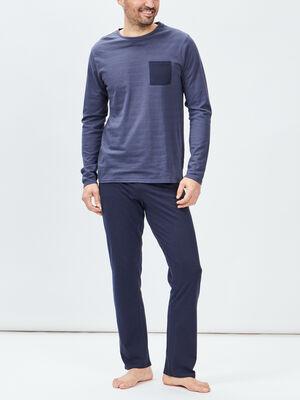 Ensemble pyjama 2 pieces bleu marine homme
