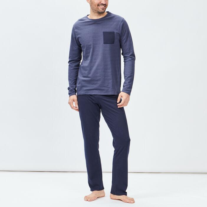 Ensemble pyjama 2 pièces homme bleu marine
