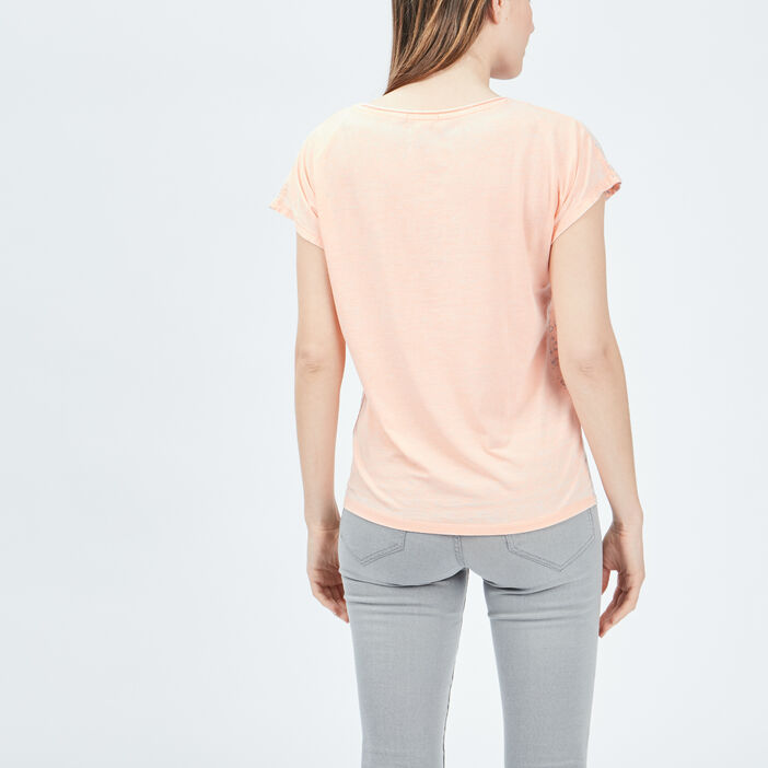 T-shirt manches courtes Creeks femme orange corail