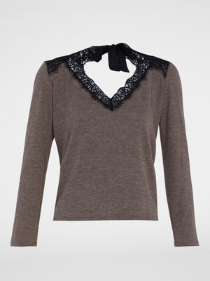 Pull taupe femme