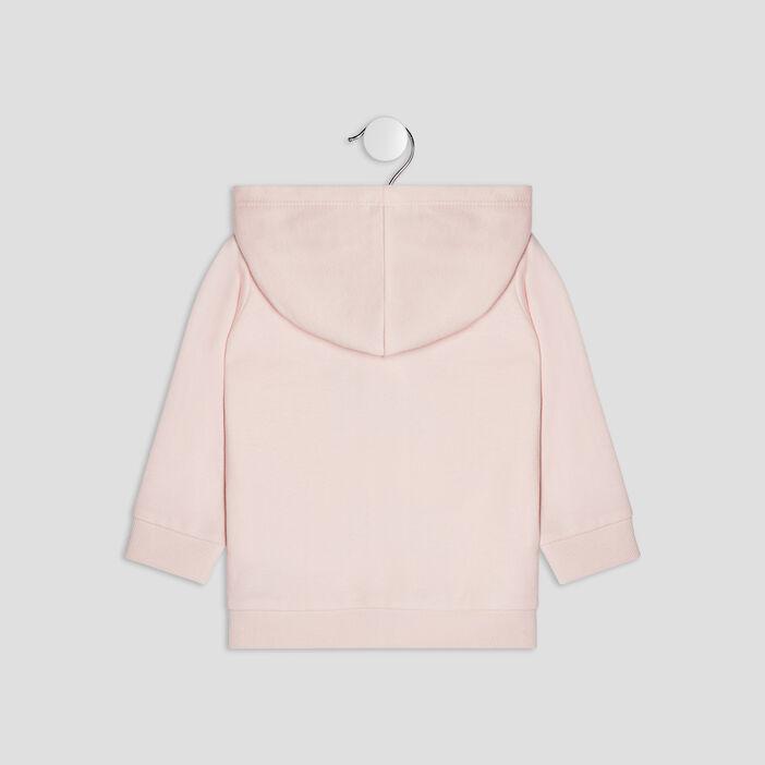 Gilet zippé à capuche bébé fille rose clair