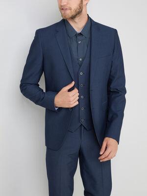 Veste coupe slim col tailleur bleu homme