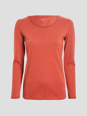 T shirt manches longues terracotta femme