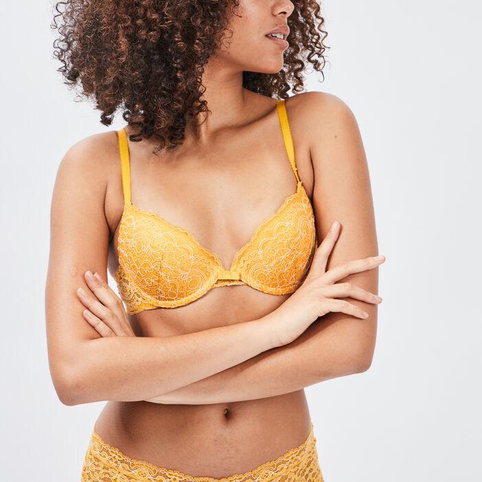 Soutien-gorge ampliforme femme jaune moutarde