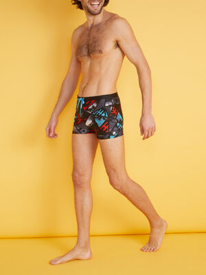 Short de bain imprime Freegun noir homme