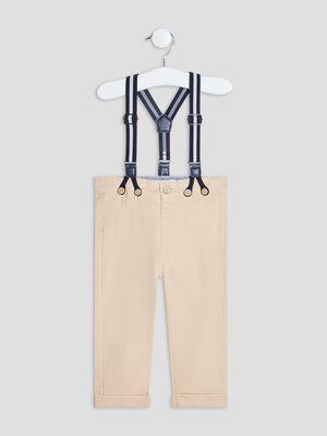 Pantalon droit a bretelles beige bebeg
