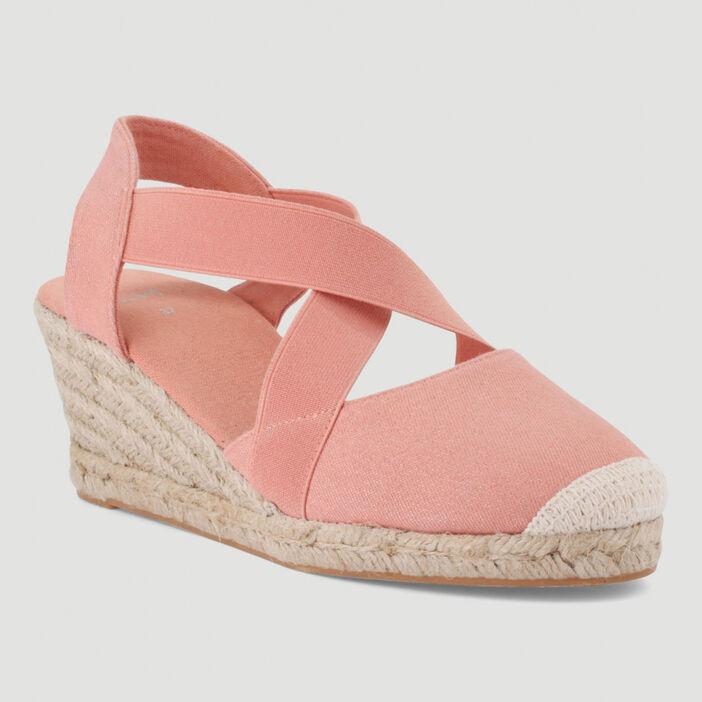 Sandales toile talon corde compensé femme rose