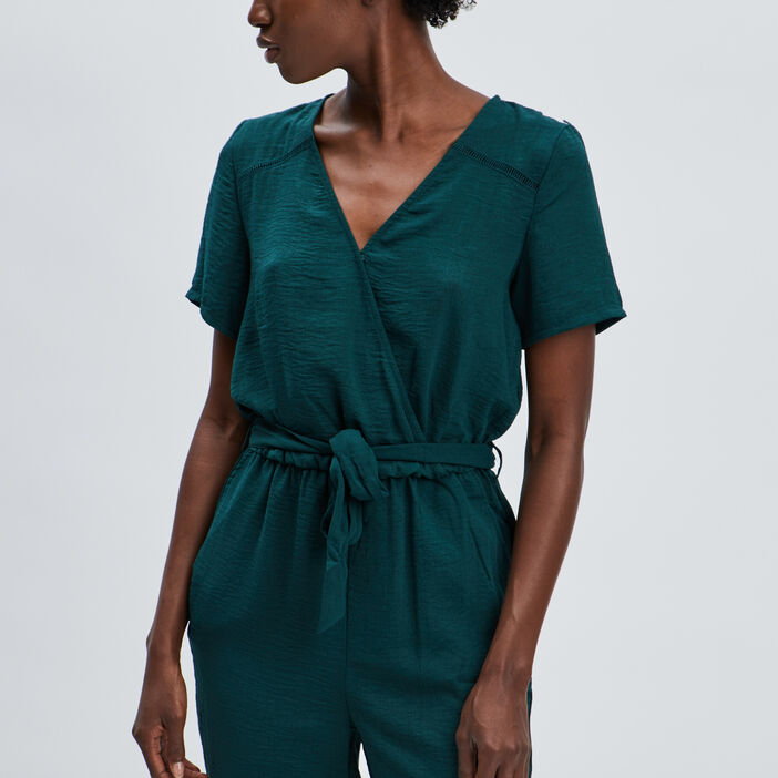 Combinaison pantalon fluide femme vert émeraude