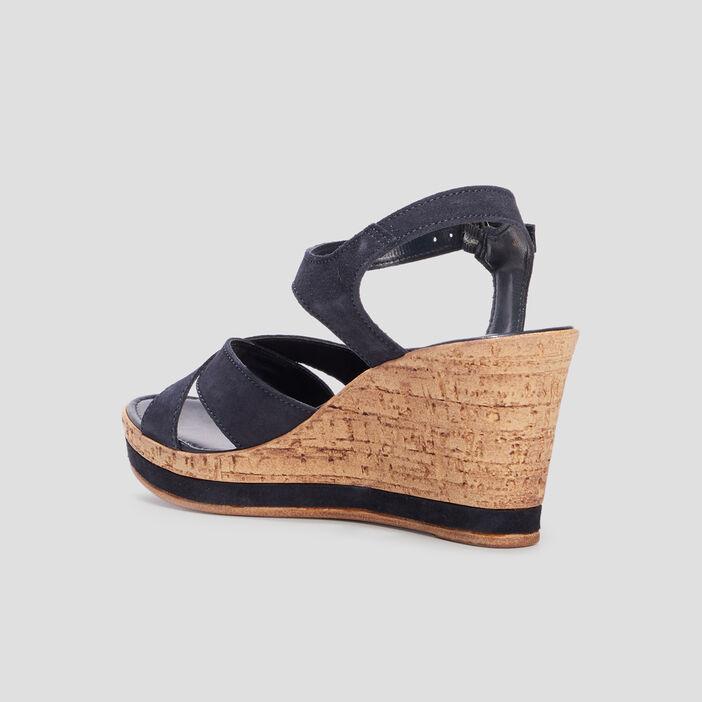 Sandales compensées en cuir femme bleu