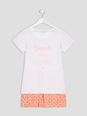 Ensemble pyjama 2 pieces blanc fille