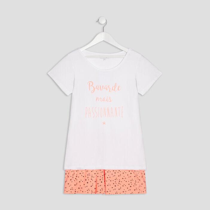 Ensemble pyjama 2 pièces fille blanc