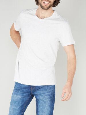 T shirt col V en coton ecru homme