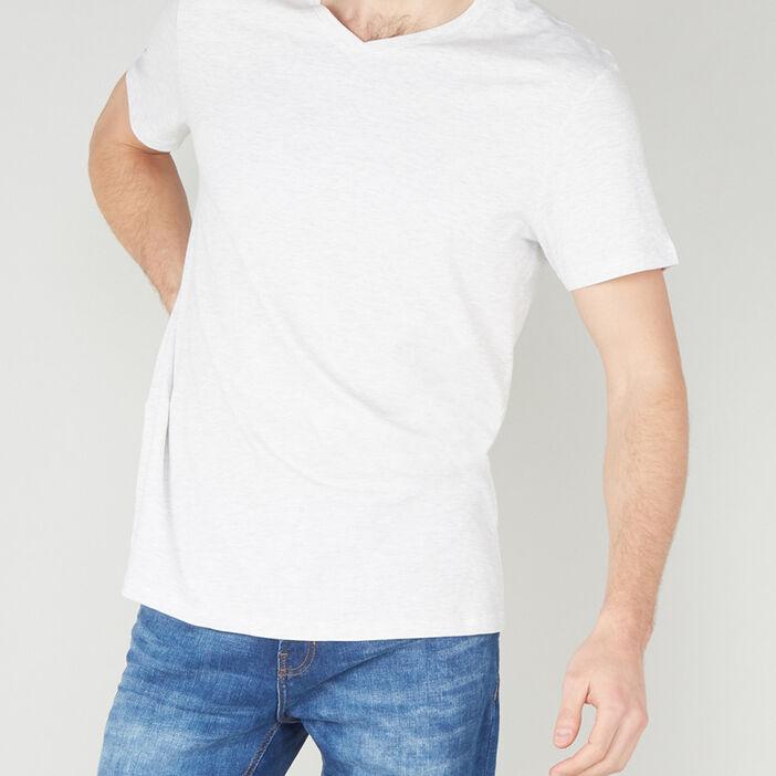 T-shirt col V en coton homme ecru