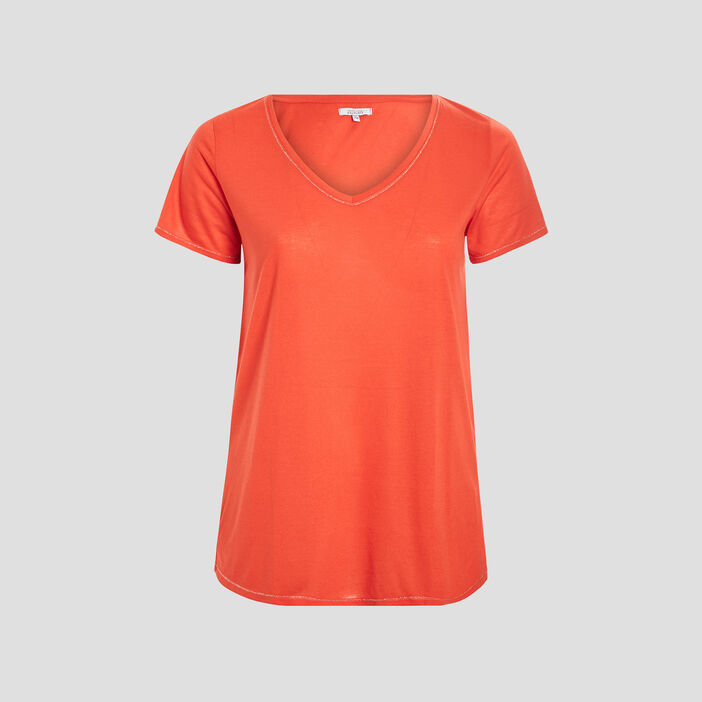 T-shirt grande taille femme grande taille rouge corail