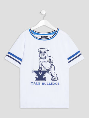 T shirt manches courtes Yale blanc fille