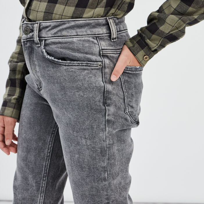 Jeans straight taille ajustable fille denim noir