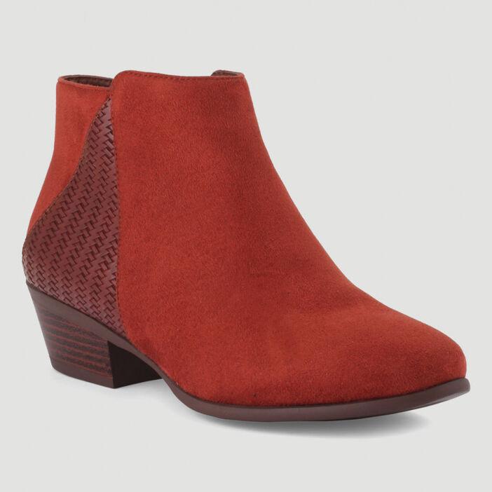 Boots bimatière avec détail tressé femme orange foncé